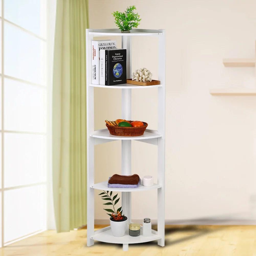 otviap 5 tier corner bookshelf 54 inch storage cabinet bookcase rack organizer cd book decor white