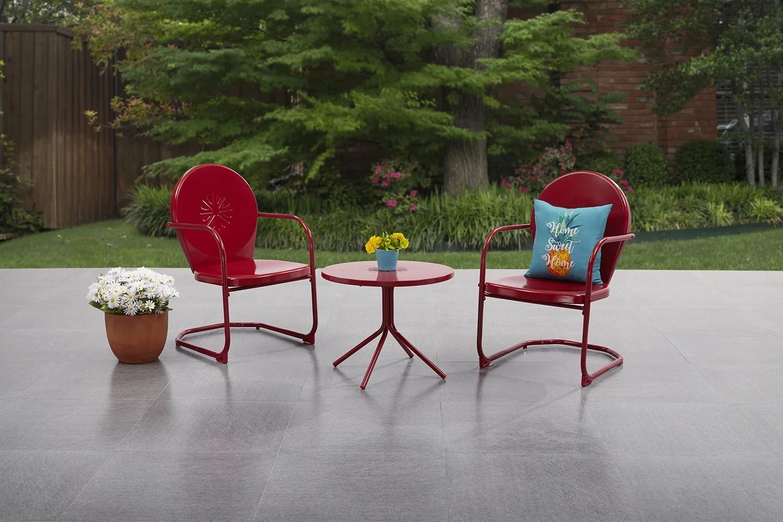 mainstays retro bistro metal patio set red