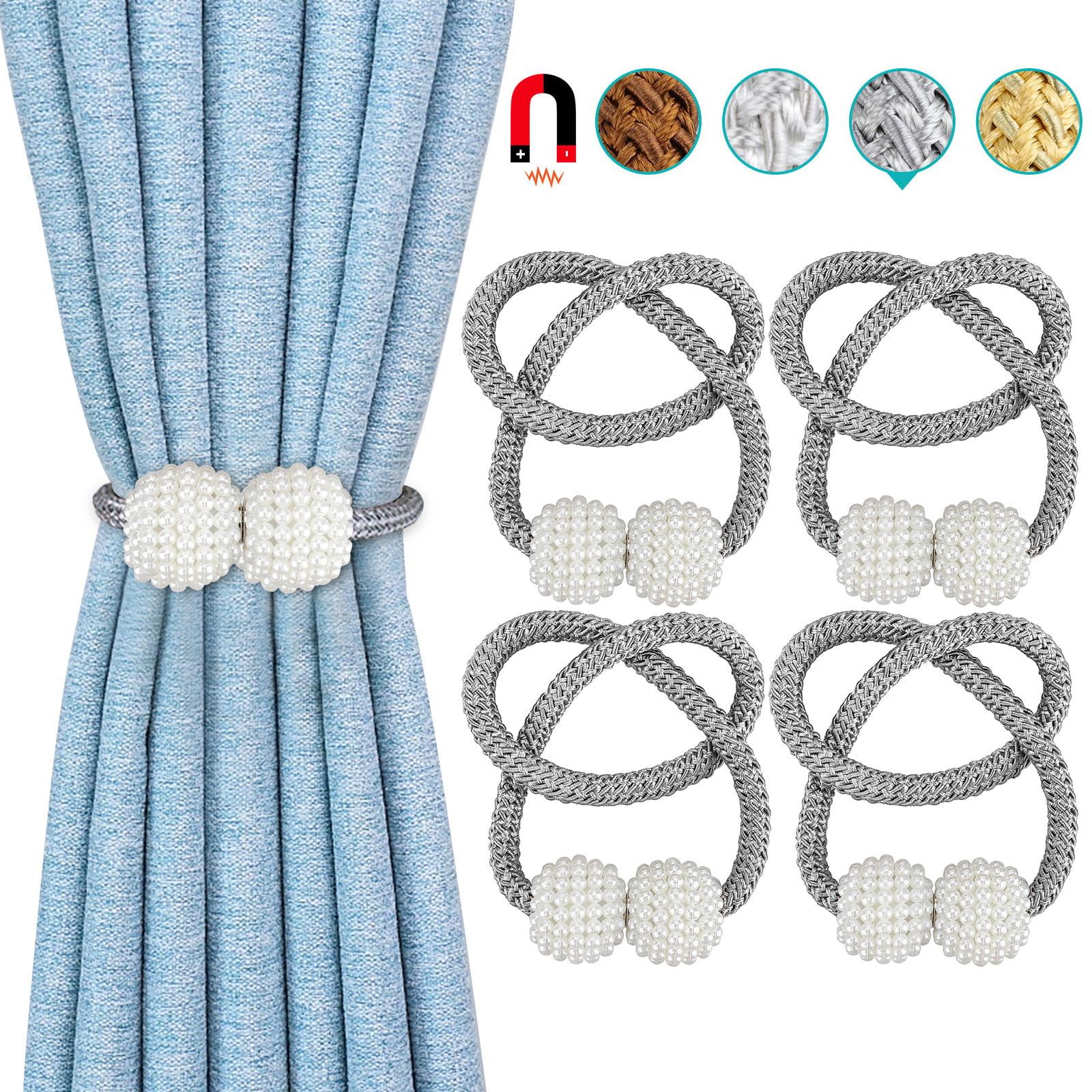 eeekit magnetic curtain tiebacks 8pcs decorative rope curtain holdback elegant pearl ball magnetic buckle drape tie backs holders holdbacks