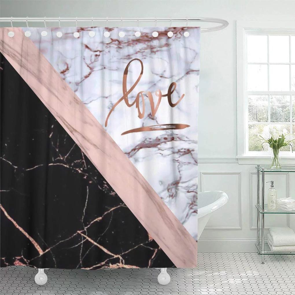 cynlon pink white rose marble love gold black stripe bathroom decor bath shower curtain 60x72 inch