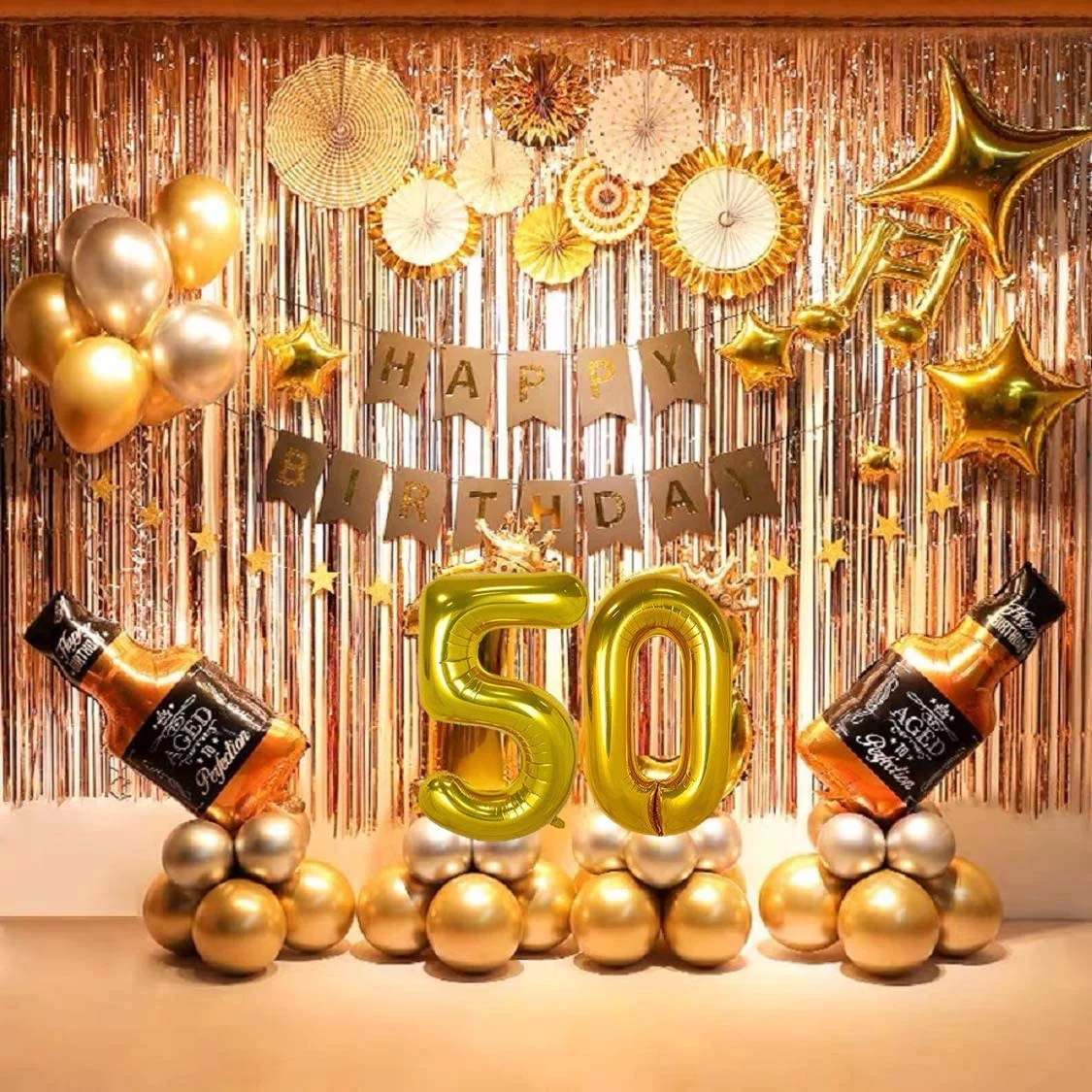 50th Birthday Party Supplies 50th Party Decorations Balloons Set With Gold Paper Fan Flowers Birthday Banner 79 Pcs Included Walmart Com Walmart Com