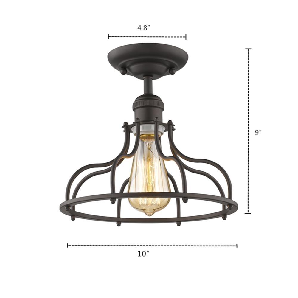 chloe lighting jaxon industrial style 1 light rubbed bronze semi flush ceiling fixture 10 wide