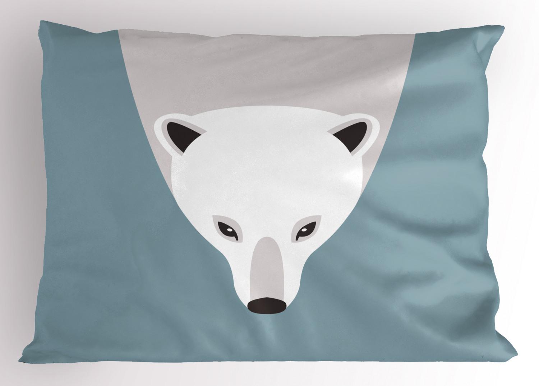 polar bear pillow sham artistic flat design polar bear head image predator mammal decorative standard queen size printed pillowcase 30 x 20 inches
