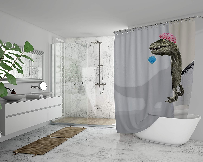 funny dinosaur raptor shower curtain