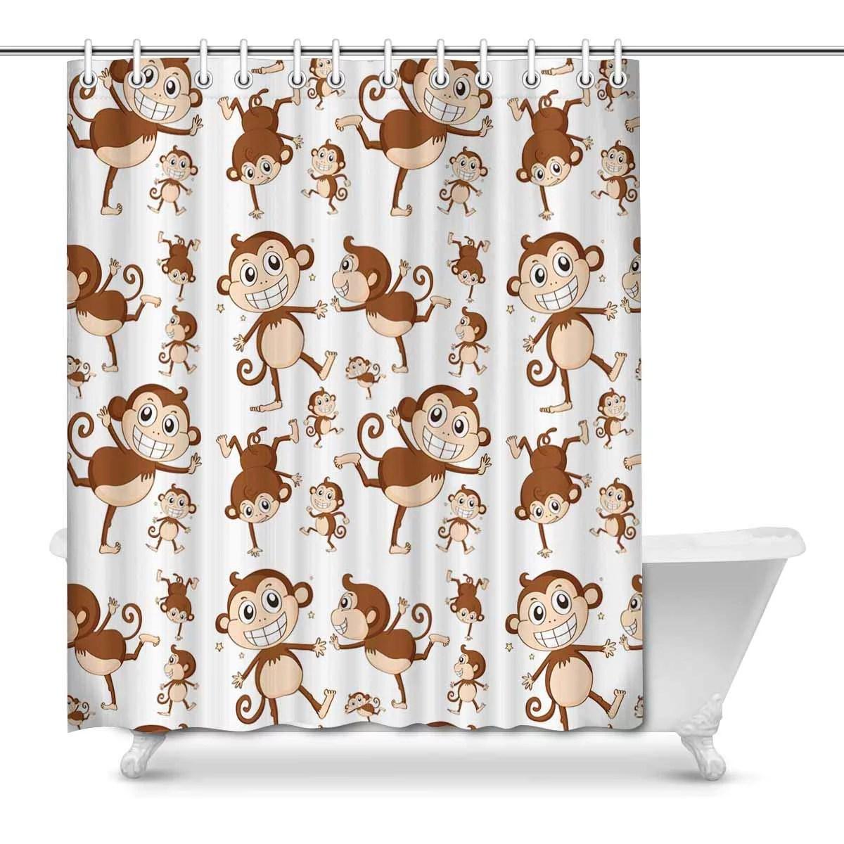 pop monkey shower curtain bathroom sets home decor 66x72 inch