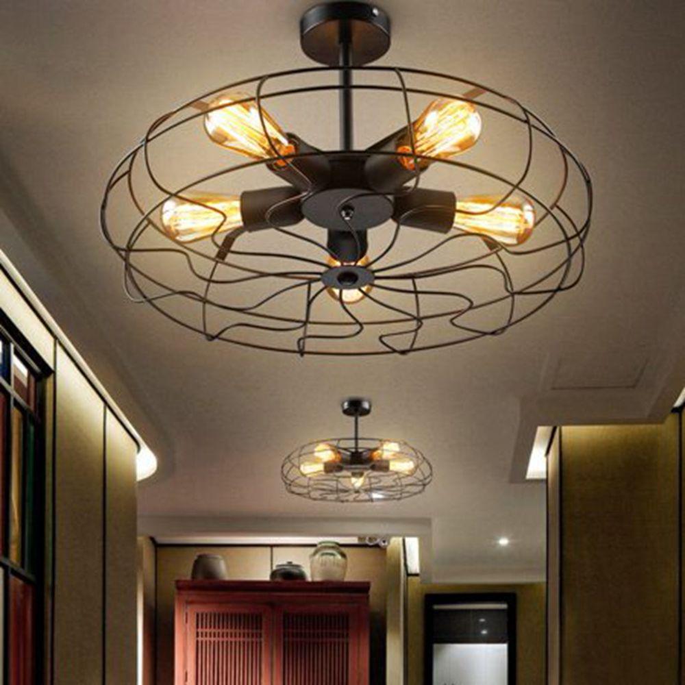 retro industrial fan style metal cage ceiling light 5 lights semi flush mount rustic pendant light lamp hanging light fixture e27 bulb base for