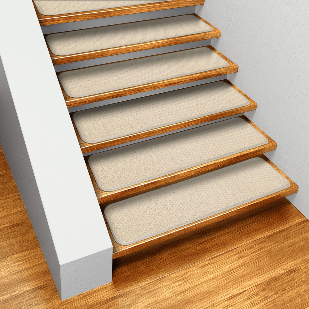 Set Of 15 Skid Resistant Carpet Stair Treads Ivory Cream 8 In | Carpet Stair Treads Walmart | Slip Resistant | Beige Carpet | Carpet Runners | Koeckritz Rugs | Adhesive Padding
