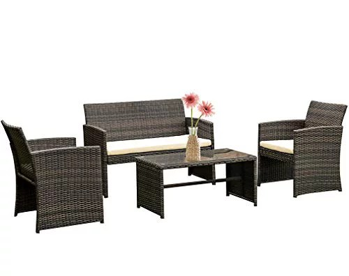 4 pieces outdoor patio furniture sets rattan chair patio set wicker conversation set poolside lawn chairs porch poolside balcony outdoor garden