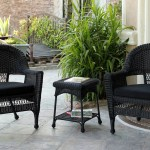 3 Piece Black Resin Wicker Patio Chairs And End Table Furniture Set Black Cushions Walmart Com Walmart Com