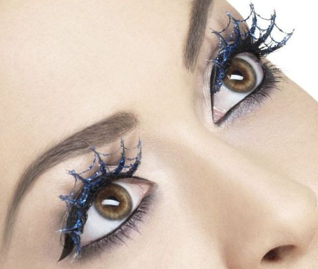 Fever Collection Eyelashes Blue Glitter Spiderweb False Lashes W Glue Halloween