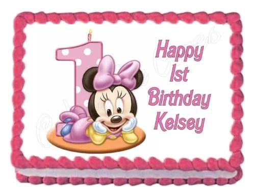 Disney Baby Minnie Mouse Number One Cake Candle First Birthday Edible Cake Topper Image Abpid04832 Walmart Com Walmart Com