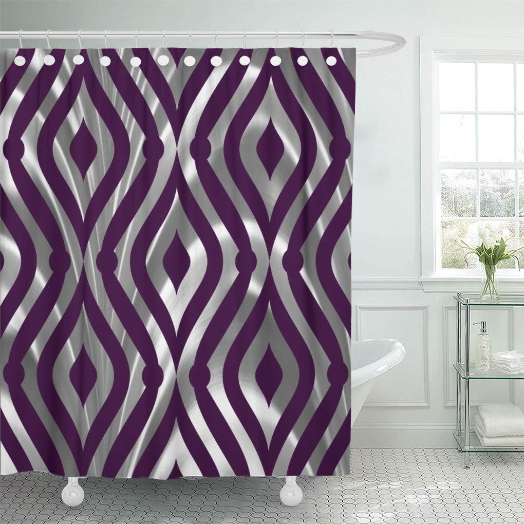 atabie gray elegant silver and purple geometric pattern shower curtain 60x72 inch walmart com