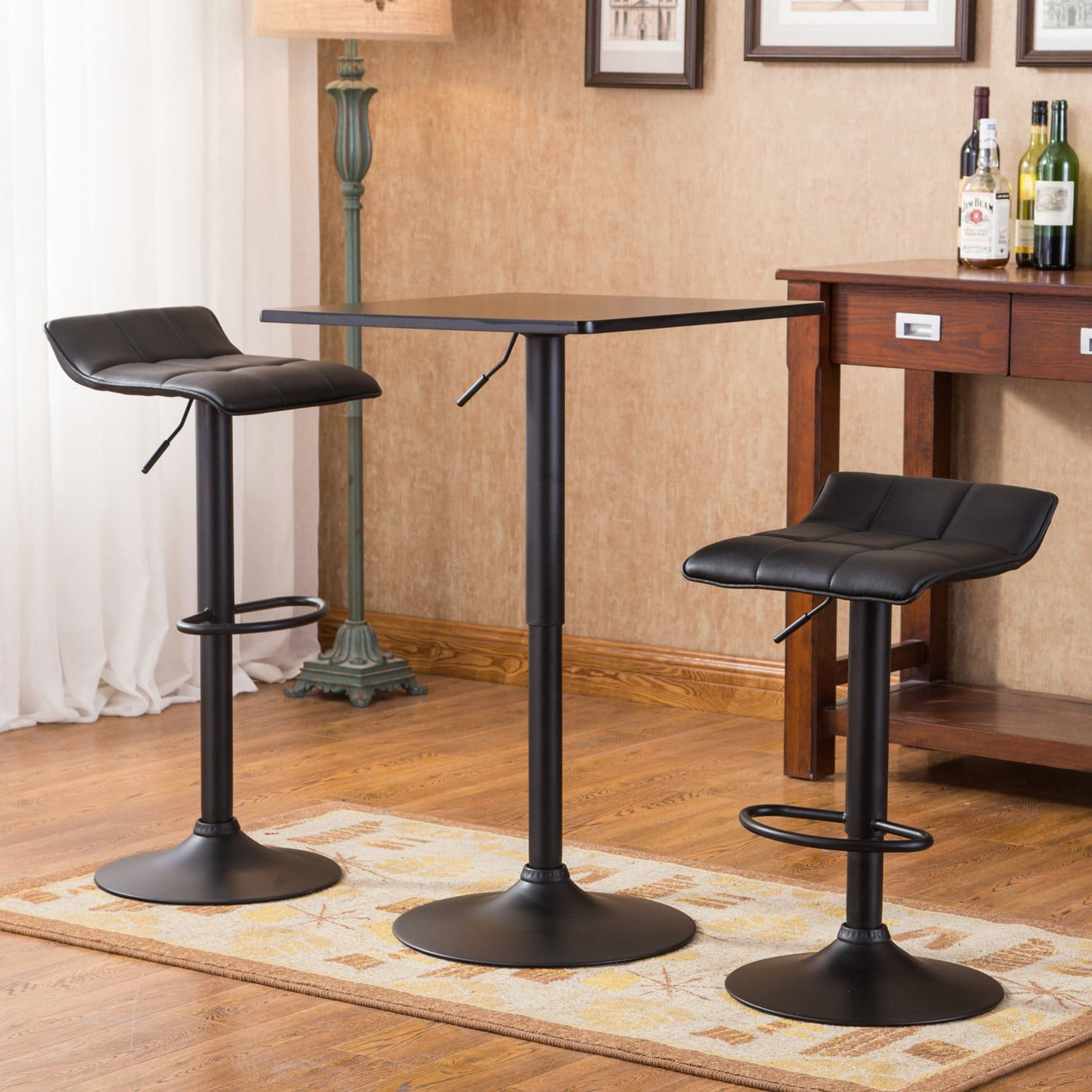 Roundhill Furniture Belham Black Square Top Adjustable Height With Black Leg And Base Metal Bar Table And 2 Swivel Black Bonded Leather Adjustable Bar Stool Bar Sets Walmart Com Walmart Com