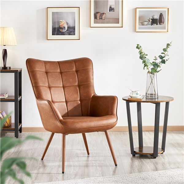 smilemart faux leather wingback accent chair upholstered biscuit tufted club accent chair contemporary chair with armchair for living room