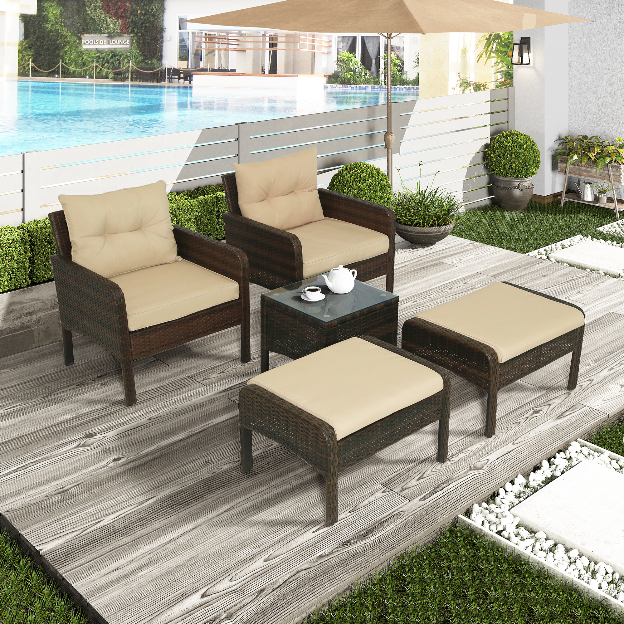 pe brown rattan sofa set of 5 outdoor patio chair and ottoman set with cushions tea table all weather wicker bistro set poolside conversation