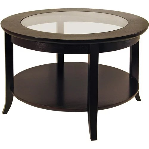 winsome wood genoa round coffee table with glass top espresso finish