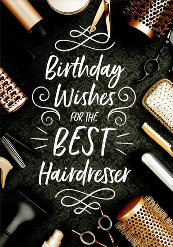 Designer Greetings Hair Brush Comb Scissors Dryer Birthday Card For Hairdresser Walmart Com Walmart Com