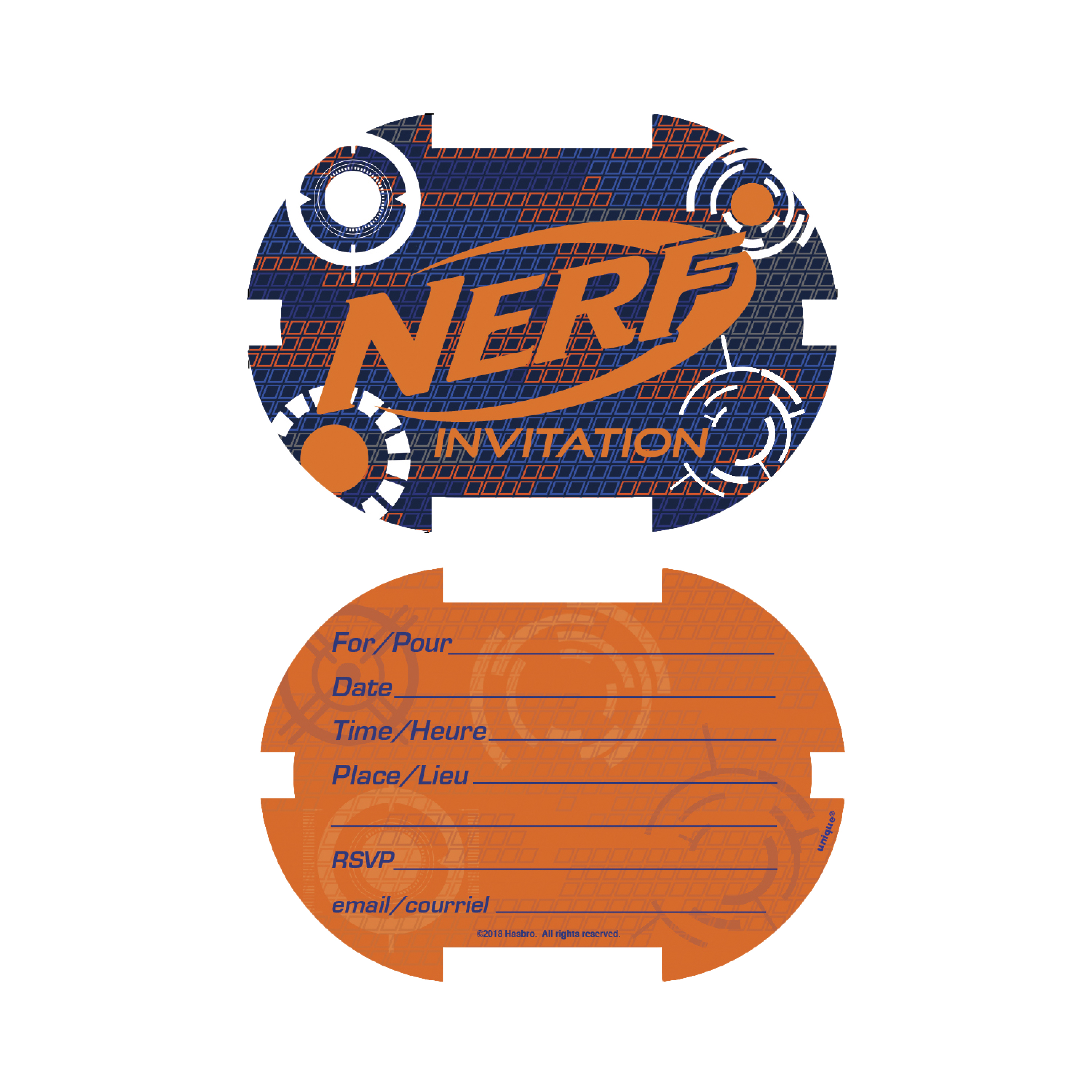 nerf party invitations 8ct