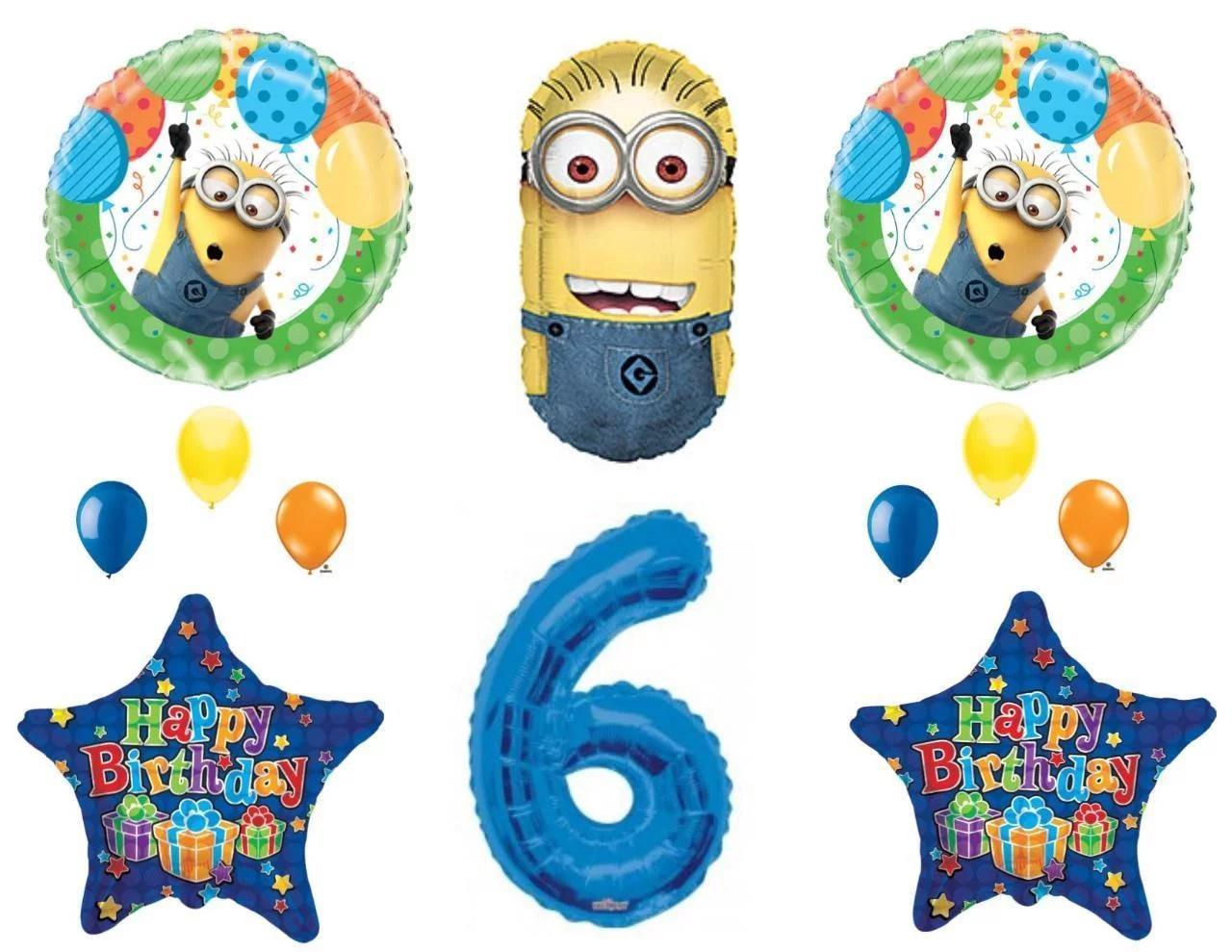 6th Despicable Me Minions Happy Birthday Party Balloons Decorations Supplies Walmart Com Walmart Com