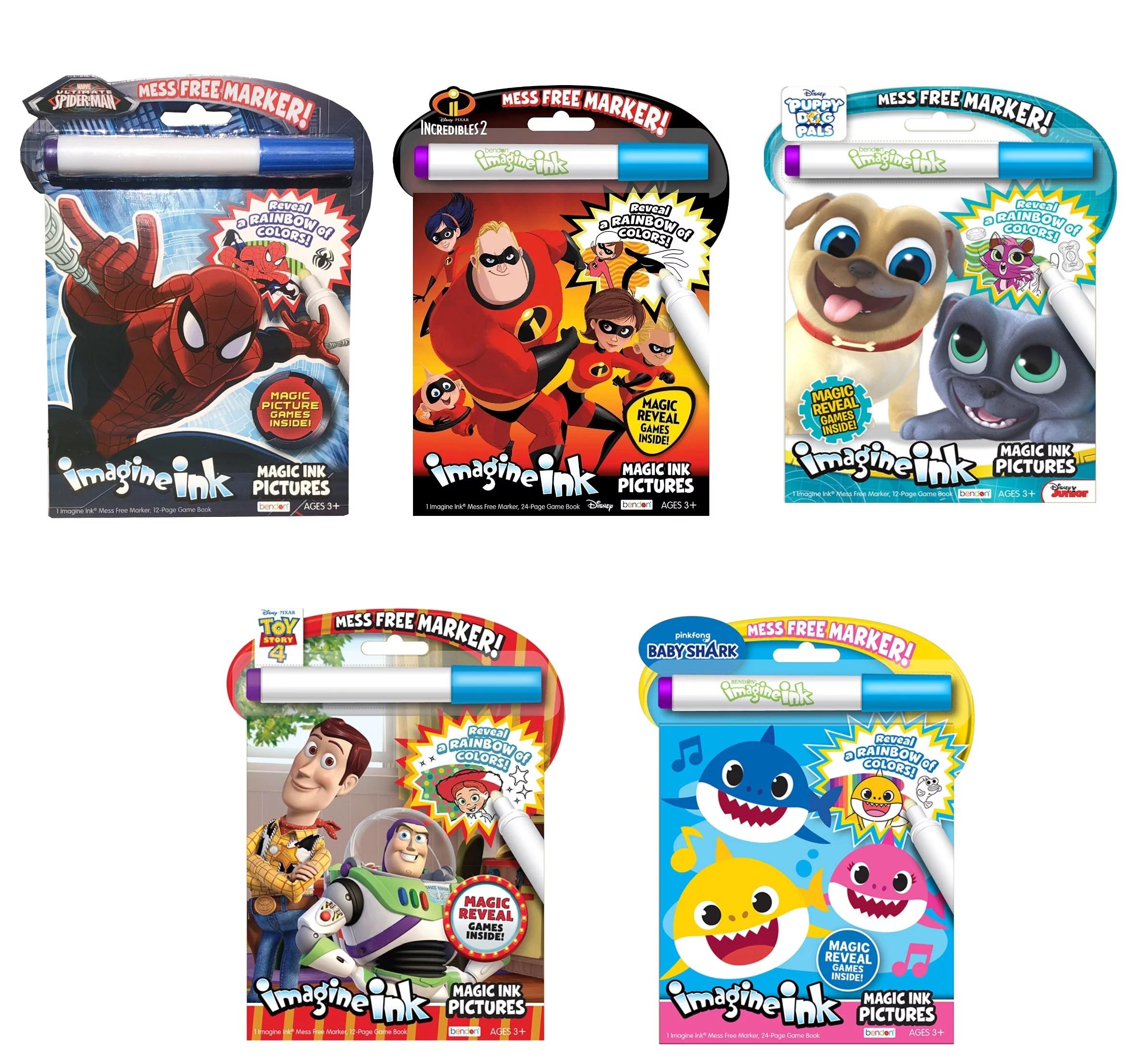 Assortment Boys Bundle Of 5 Imagine Ink Coloring Book Featuring Favorite Cartoon Characters Mess Free Invisible Ink Pens Walmart Com Walmart Com
