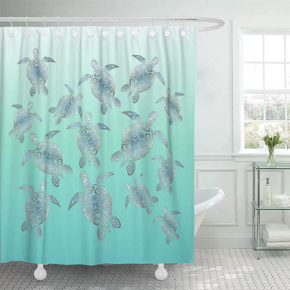 cynlon aqua silver turquoise sea turtles elegant hawaii nautical bathroom decor bath shower curtain 60x72 inch