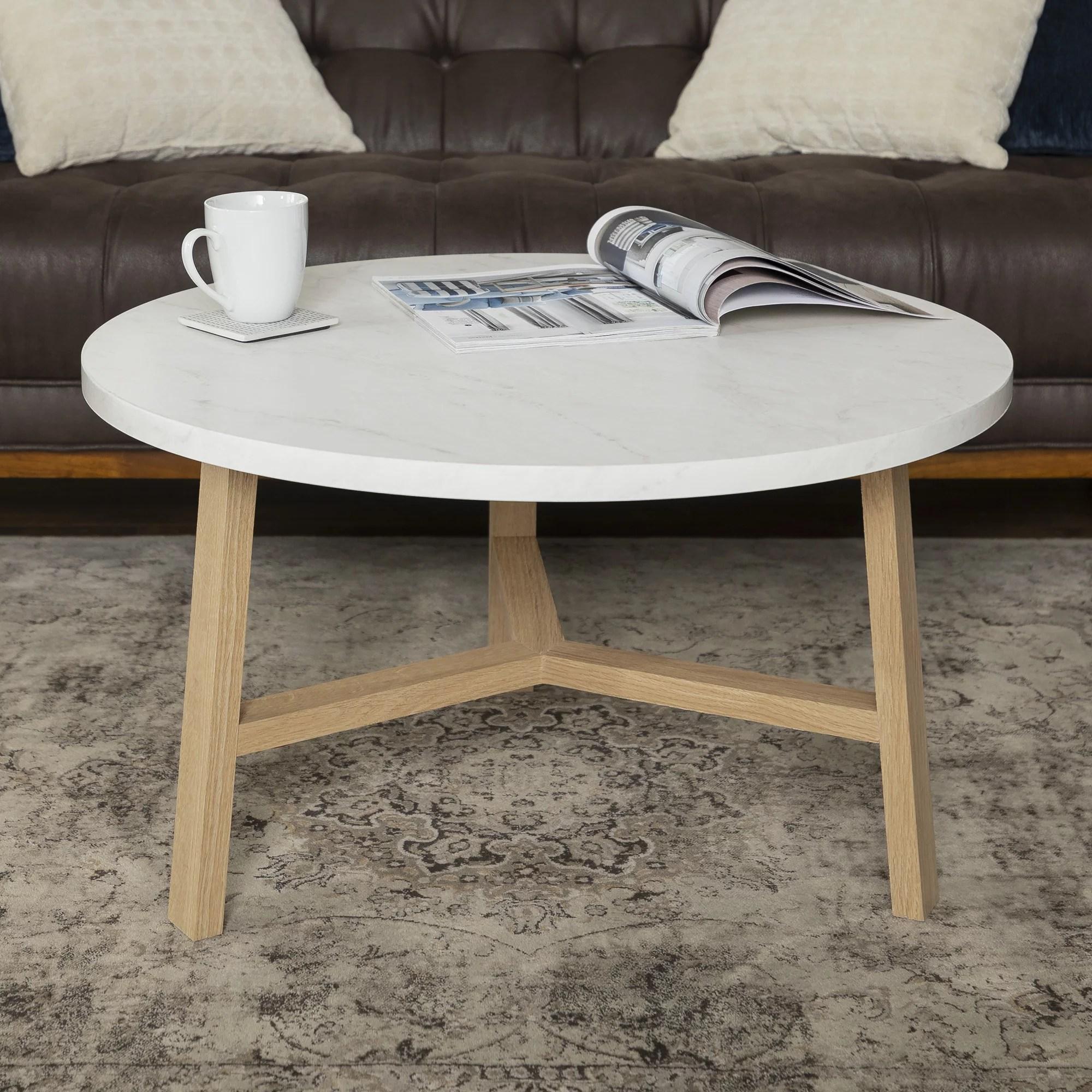 manor park mid century modern round coffee table white marble light oak walmart com