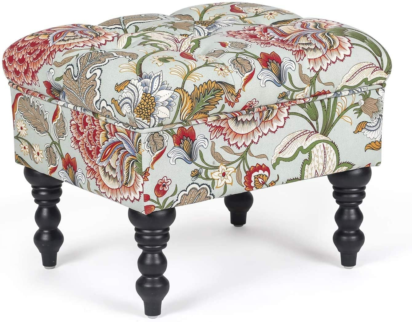 homebeez ottoman stool tufted foot rest fabric floral vanity stool with wood legs floral