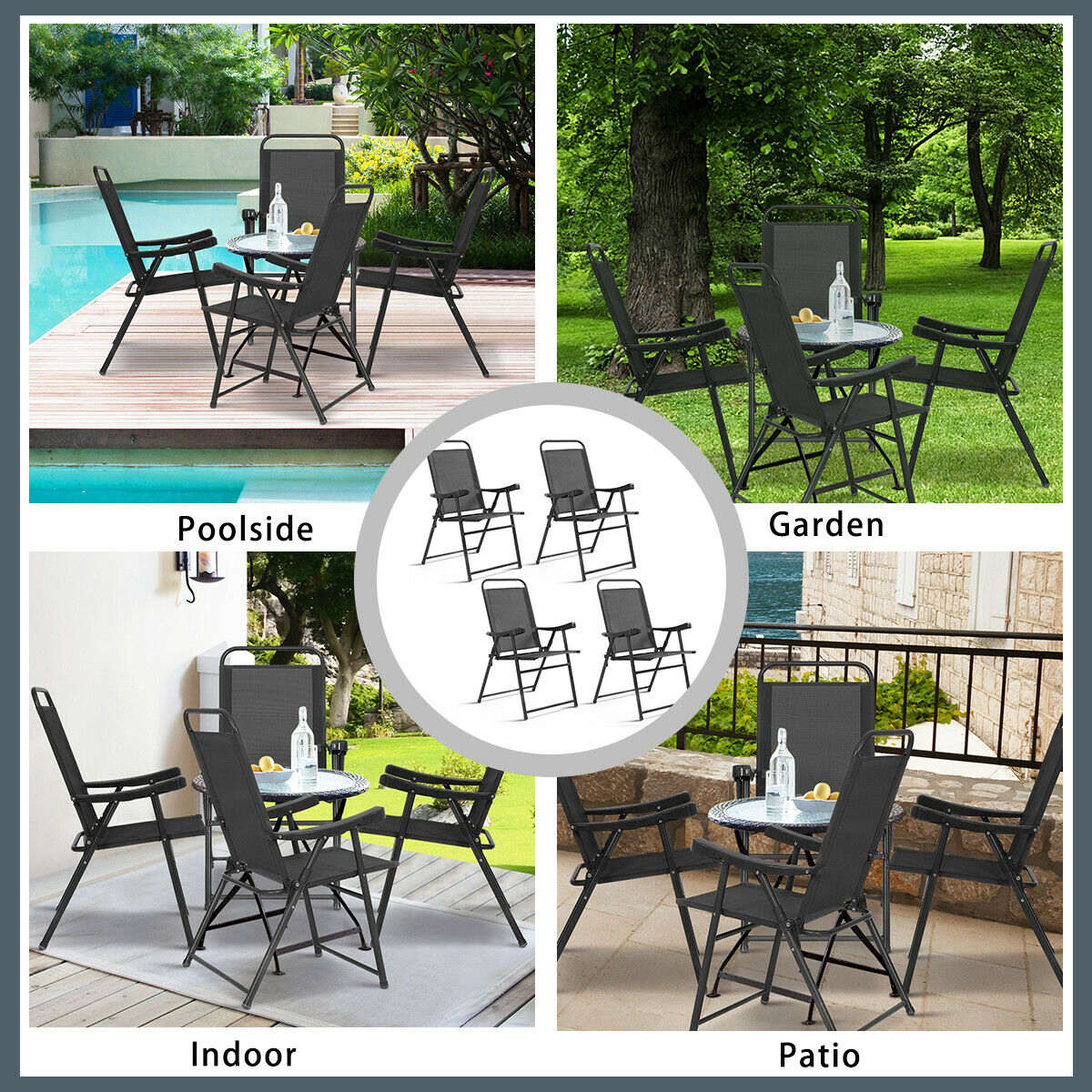 set of 4 folding sling chairs patio