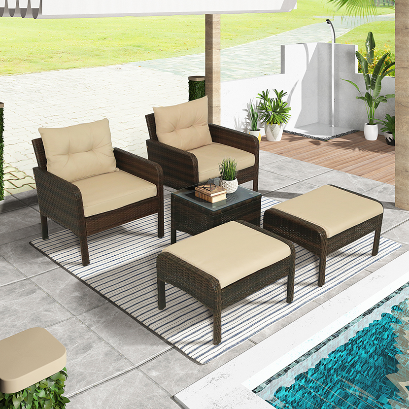 5 piece pe rattan wicker outdoor patio furniture set with glass table