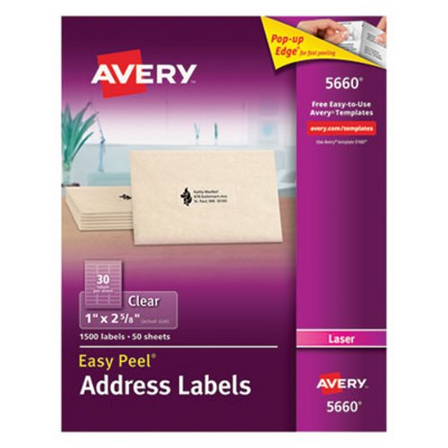 Avery 5660 Easy Peel Clear Address Labels 1 X 2 5 8 1 500 Labels