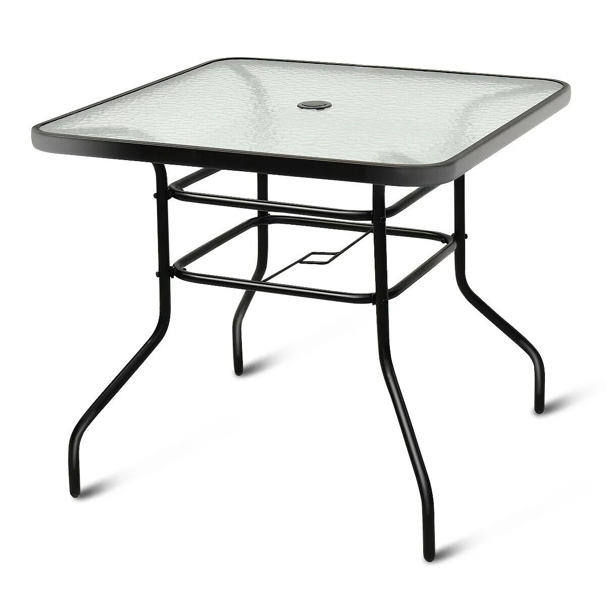 costway 32 patio square table tempered glass steel frame outdoor pool yard garden