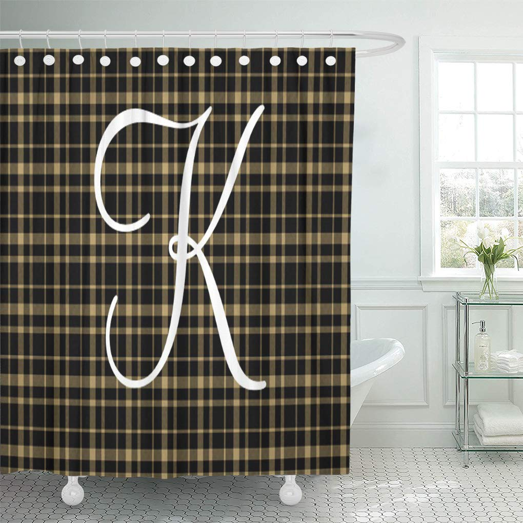 suttom yellow black customizable plaid monogram beige intial monogrammed personalized shower curtain 66x72 inch