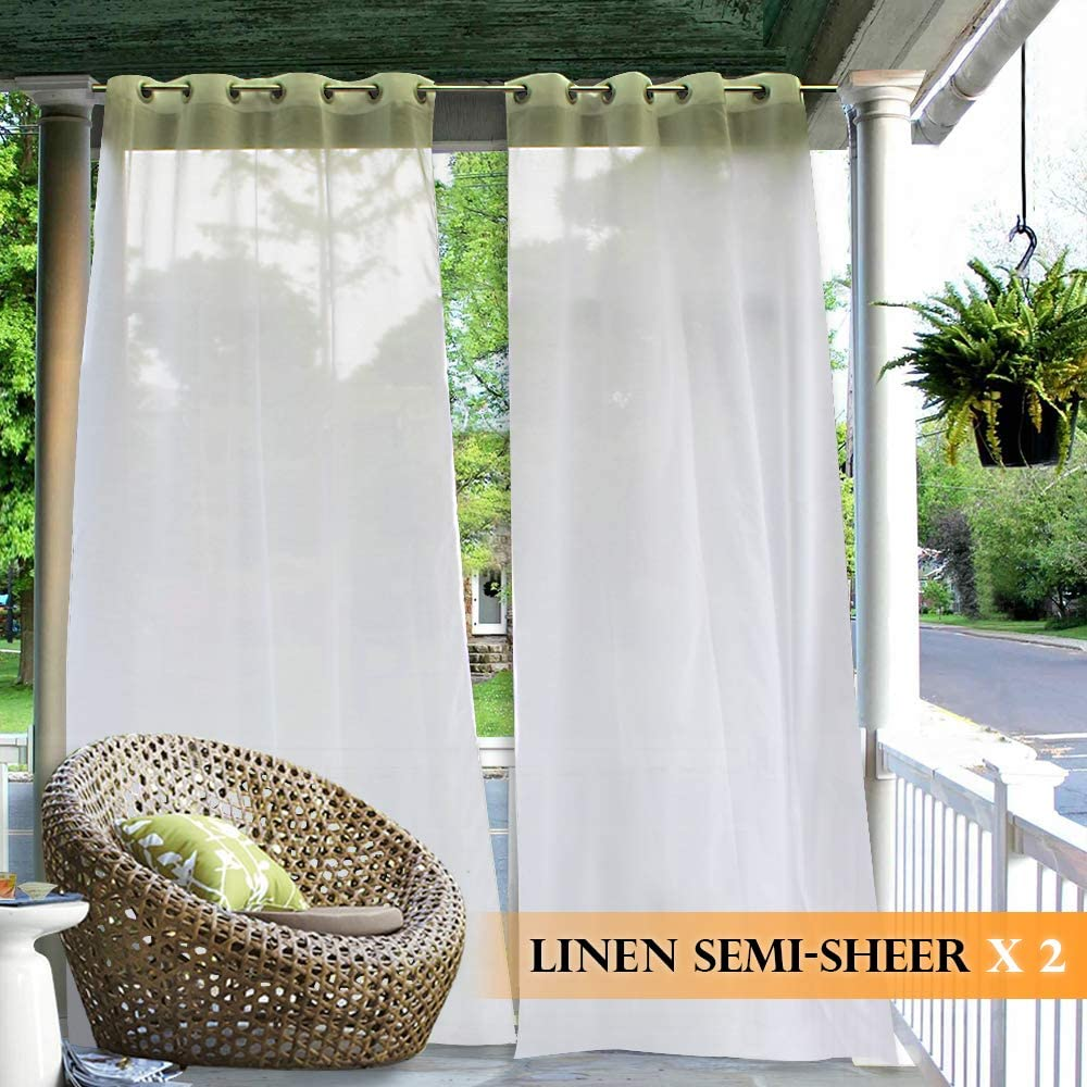 ryb home outdoor curtains sheer linen look white sheer drapes waterproof sun light glare filter panels for outside wedding lanai patio balcony