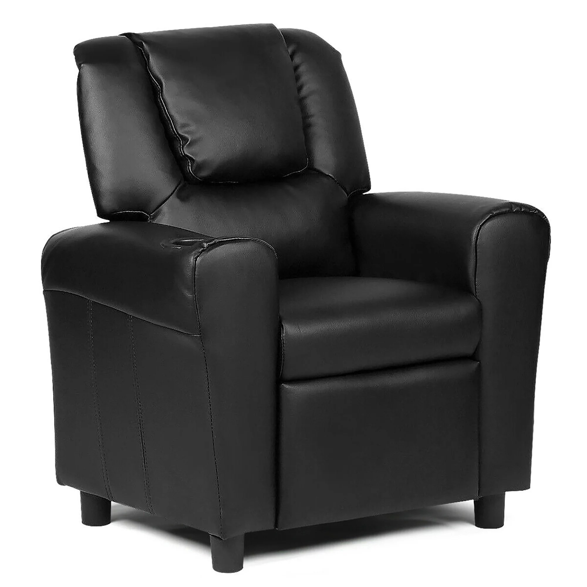 costway kids recliner armchair children s furniture sofa seat couch chair w cup holder black