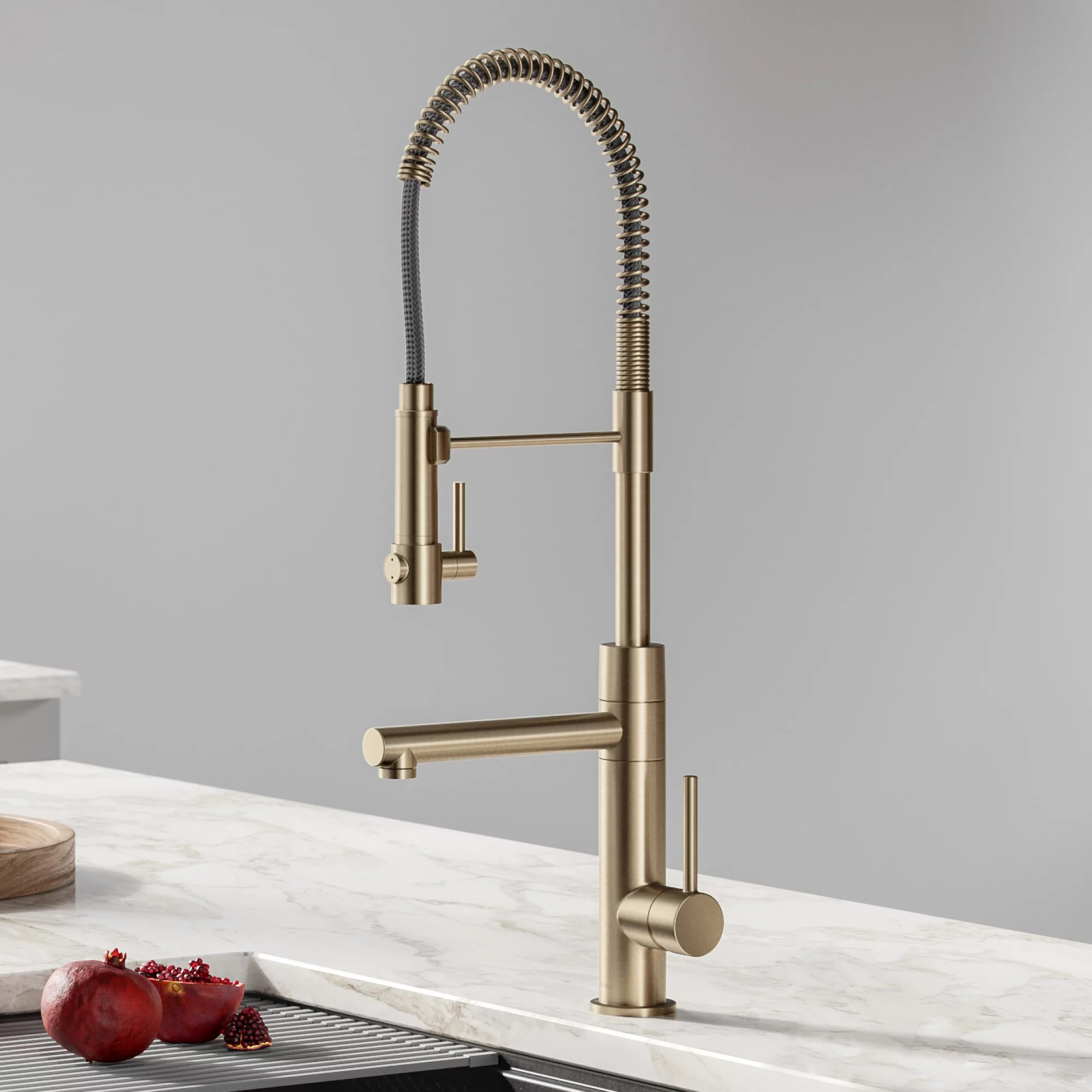 kraus artec pro 2 function commercial style pre rinse kitchen faucet with pull down spring spout and pot filler in spot free antique champagne bronze