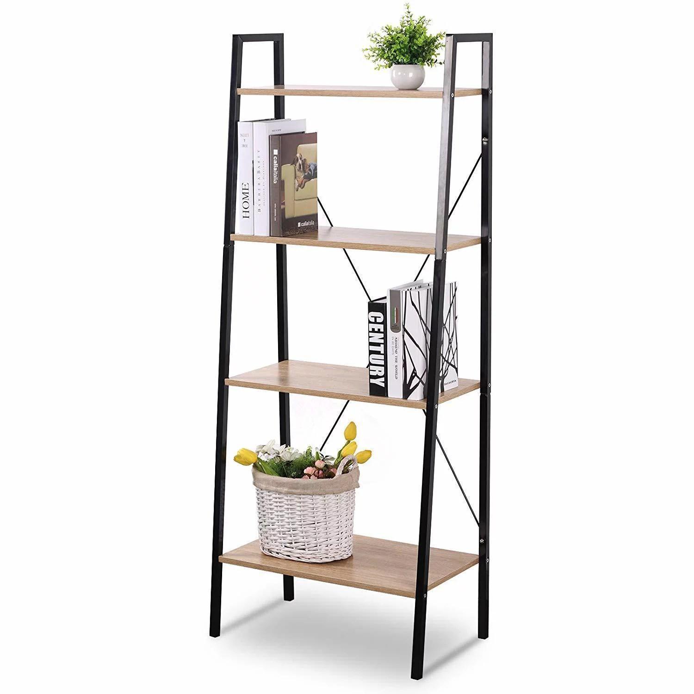 Liveditor Black Ladder Shelving Unit 4 Tier Display Stand Book Shelf Wall Rack Cupboard