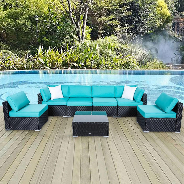 kinbor 7pcs outdoor patio furniture sectional pe rattan wicker rattan sofa set with aqua cushions