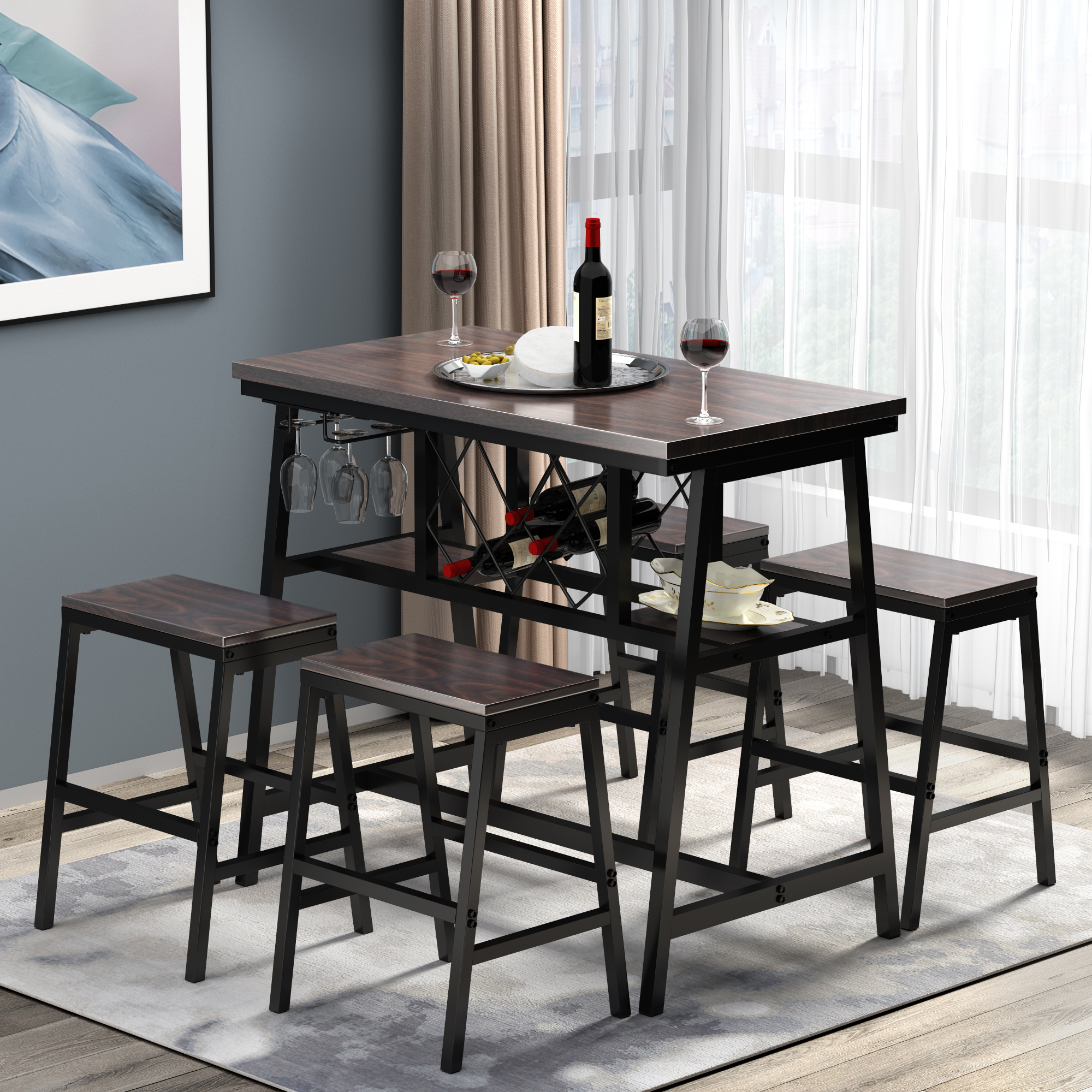 5 piece counter height dining sets industrial metal kitchen dining table set with 4 stools bar dining table set with wine rack and glass holder