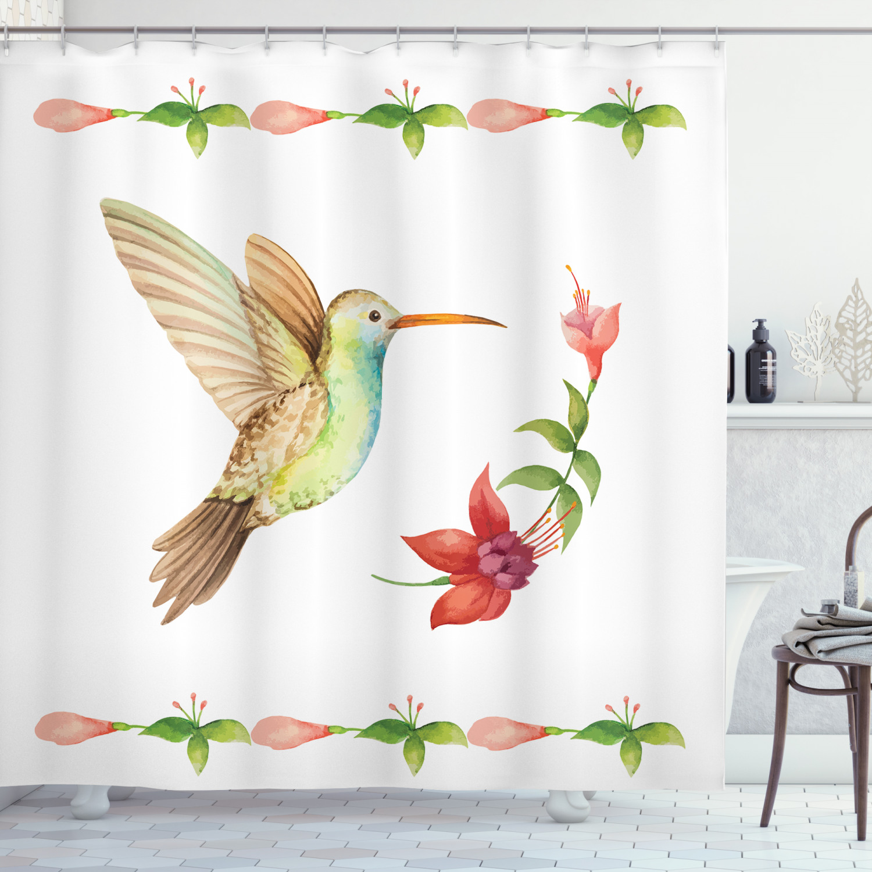 hummingbirds decorations shower curtain set hummingbird flying over a fuchsia flower stem watercolor effect art print bathroom accessories 69w x