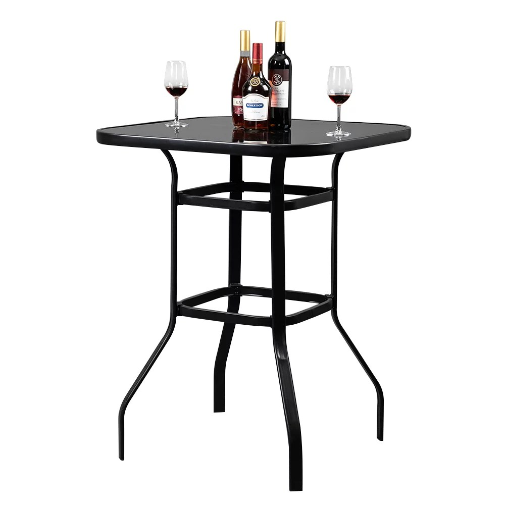 veryke patio bar table bar height patio table for oudoor garden bistro glass top metal frame square tempered furniture black