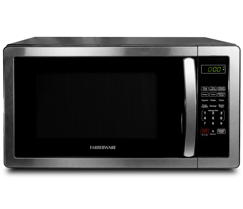 farberware classic 1 1 cu ft 1000w microwave oven stainless steel black walmart com