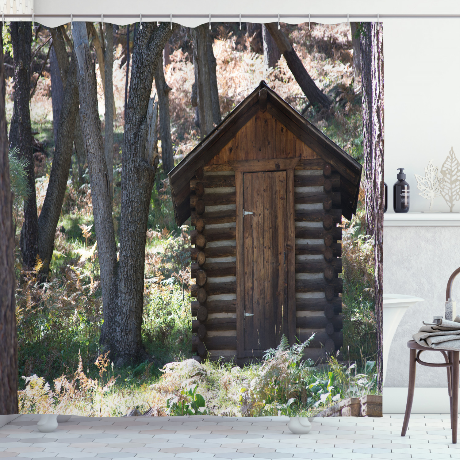 outhouse shower curtain wooden primitive life barn shed in spring forest leaves lumberjack photo fabric bathroom set with hooks dark brown and