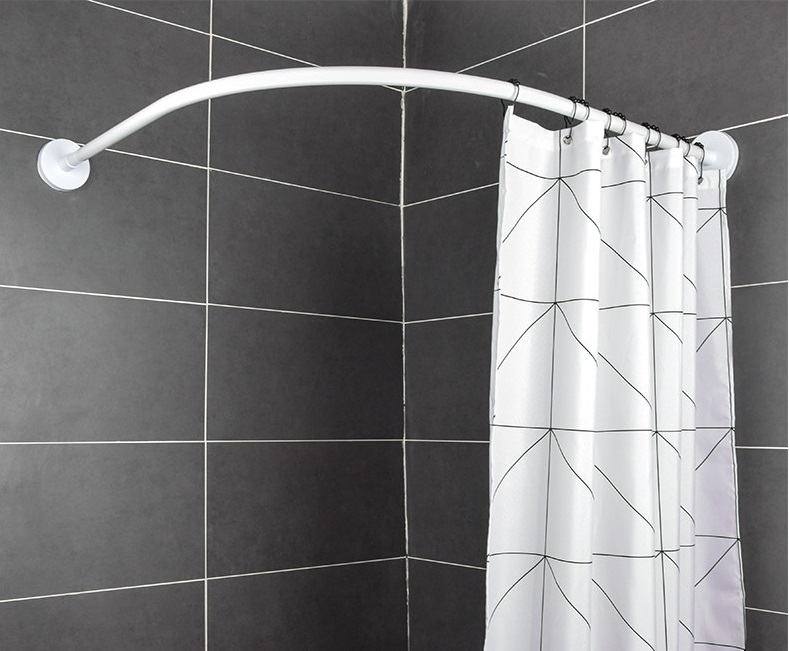 adjustable l shape shower curtain rod stainless steel telescopic pole curved shower curtain rod bathroom rod christmas gifts