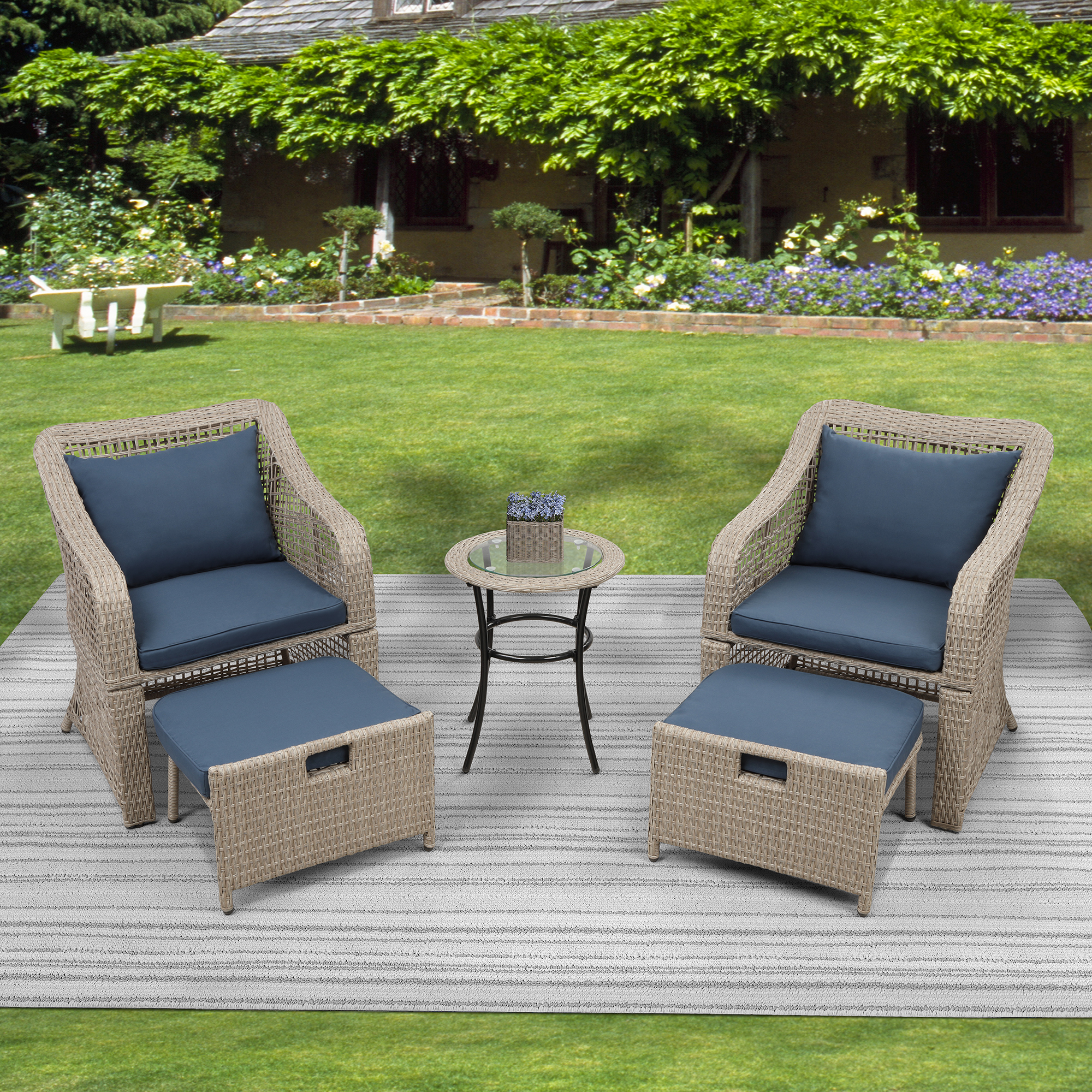 uhomepro 5 piece wicker patio furniture set pe wicker rattan small patio set porch furniture cushioned patio chair set of 2 with ottomans coffee