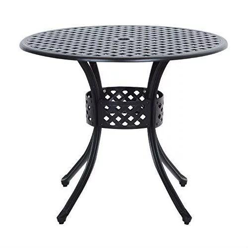 round metal 36 inch outdoor patio table in black cast aluminum