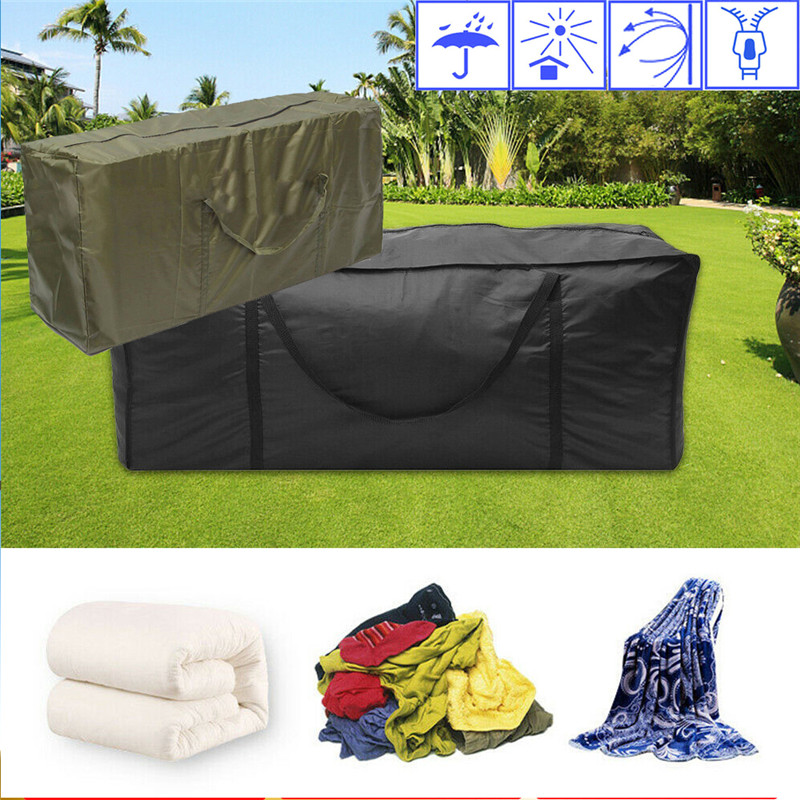 outdoor cushion storage bag zippered storage bags with handles outdoor patio furniture cover water resistant 116 47 51 cm 45 67 18 50