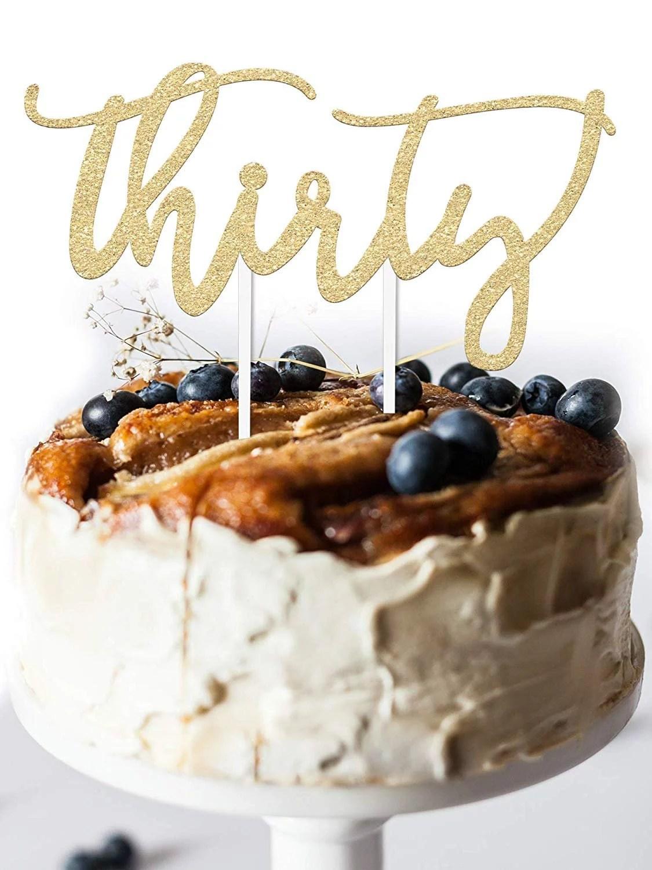 30 Birthday Cake Topper Decoration Thirty 7 X 3 5 30th Thirtieth Bday Topper Gold Glitter Card Stock Walmart Com Walmart Com