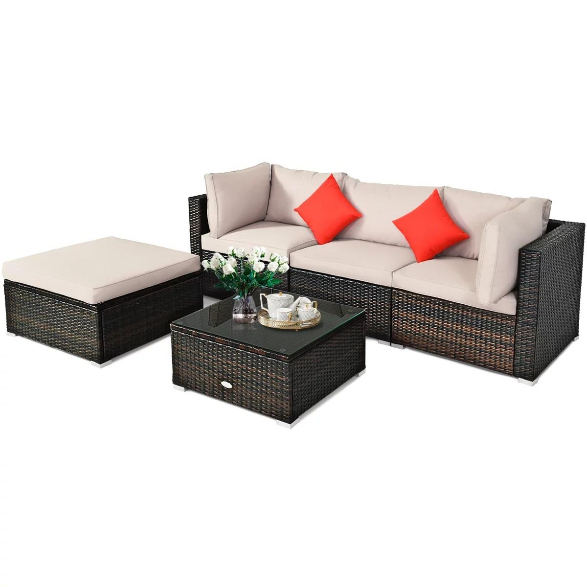 patiojoy 5 piece outdoor patio sectional rattan wicker sofa set w cushion
