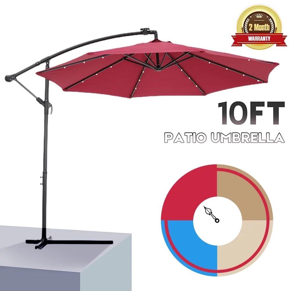outdoor umbrella with led lights 10ft solar led offset patio umbrella hanging cantilever market patio umbrella with crank cross base backyard