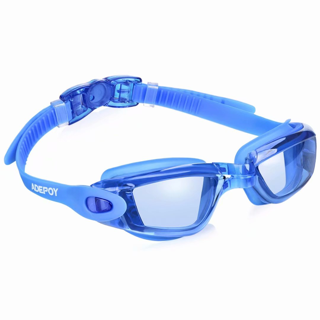 adepoy swimming goggles anti fog crystal clear vision with uv protection no leaking easy to adjust comfortable for adults men women